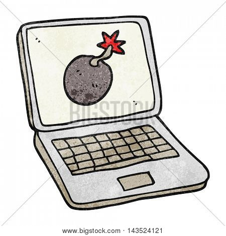 freehand textured cartoon laptop computer with error screen