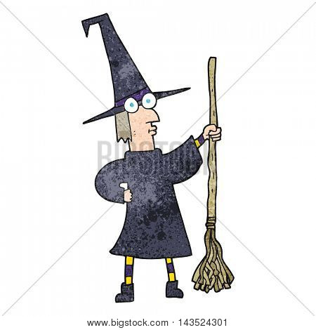 freehand textured cartoon witch with broom