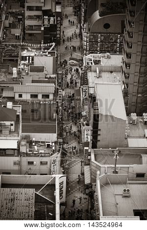 OSAKA, JAPAN - MAY 11:Street rooftop view on May 11, 2013 in Osaka. With nearly 19 million inhabitants, Osaka is the second largest metropolitan area in Japan after Tokyo.