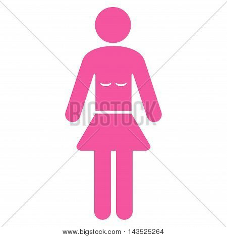Lady icon. Glyph style is flat iconic symbol with rounded angles, pink color, white background.