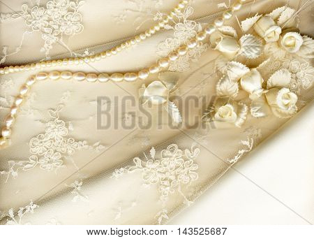 Vintage tulle chiffon texture background with glitter overlay. wedding concept.