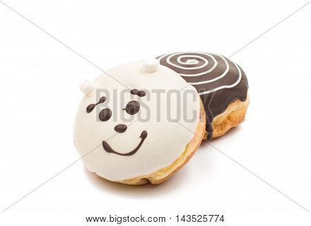 creative  pastry donuts on a white background