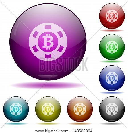 Set of color Bitcoin casino chip glass sphere buttons with shadows.