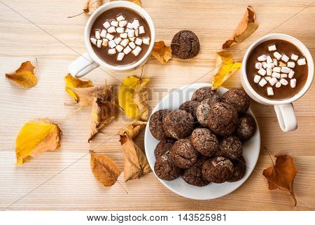 Autumn snack. Hot chocolate with marshmellow and fragrant chocolate chip cookie. Against the background of a wooden table, the decor of autumn leaves. Top view