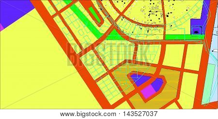 township project in color, streets, areas, architecture diagram, plan of settlement, relief, houses, roads