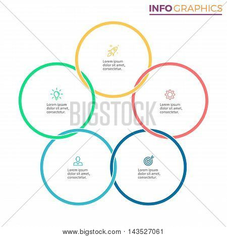 Linear infographics. Chart with 5 steps, options. Vector design element.