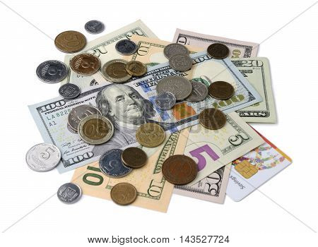 Heap Of Dollar Bills And Coins. Isolated On White Background