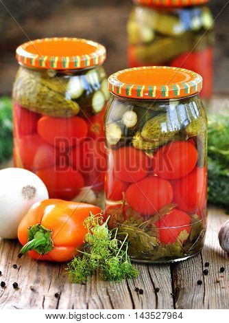Homemade Pickled tomatoes and cucumbers, pickled food