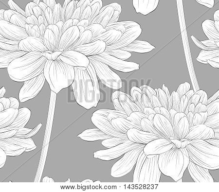 Beautiful monochrome black and white seamless background with flowers dahlia with a stem. Hand-drawn contour lines and strokes.
