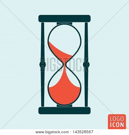 Sand clock icon. Hourglass or sandglass symbol. Vector illustration.