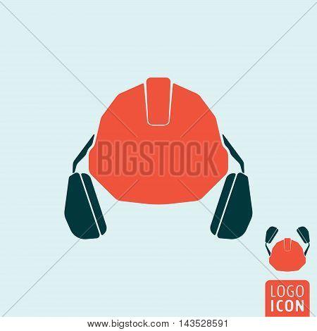 Helmet with headphones icon. Personal protective equipment symbol. Vector illustration