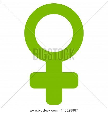 Female Symbol icon. Vector style is flat iconic symbol with rounded angles, eco green color, white background.