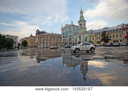 View Kontraktova Square after rain. Kiev Ukraine