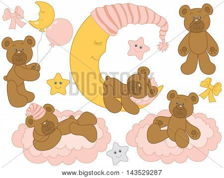 Vector cute baby bears with moon, clouds, stars and balloons - Baby Girl Set