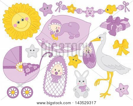 Vector baby set with newborn baby stork stroller and toys