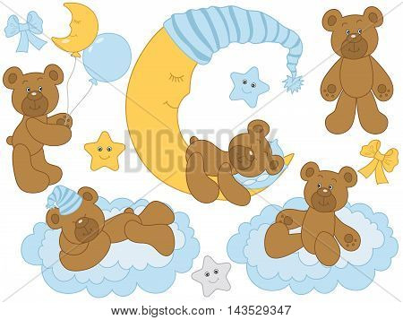 Vector cute baby bears with moon clouds stars and balloons - Baby Boy Set