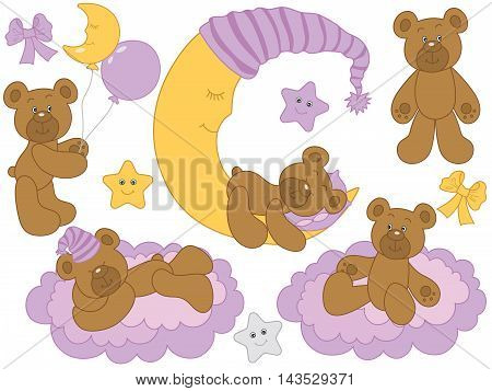 Vector cute baby bears set with moon clouds stars and balloons