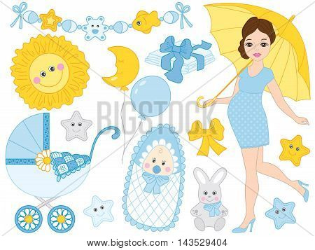 Vector beautiful pregnant woman set with baby boy