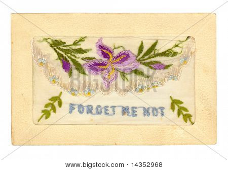 """Vintage hand-embroidered greeting card, dating from the 1920's.  The flap lifts to hold a small message inside the """"envelope"""".  High-resolution, with clipping path included.  XL file."""