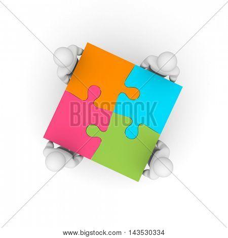 Successful team. Business puzzle. 3d illustration