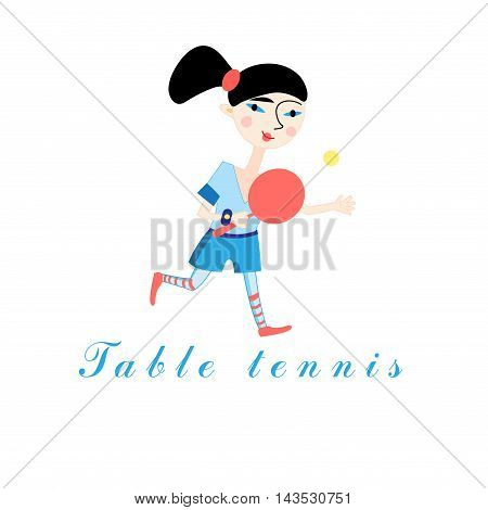 Funny girl with a tennis racket on a white background