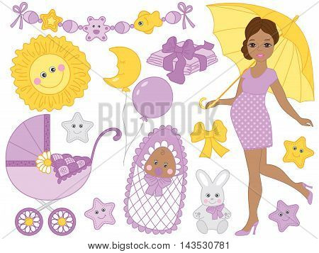 Vector African American pregnant woman set with newborn baby