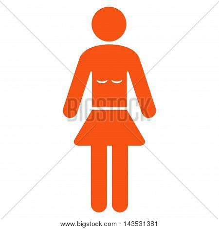 Lady icon. Vector style is flat iconic symbol with rounded angles, orange color, white background.