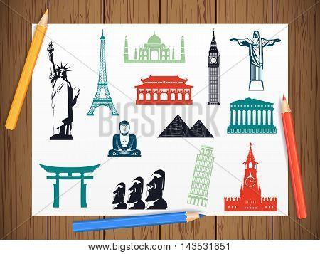 World landmarks icons on paper in work progress. Landmarks icons set. Vector illustration