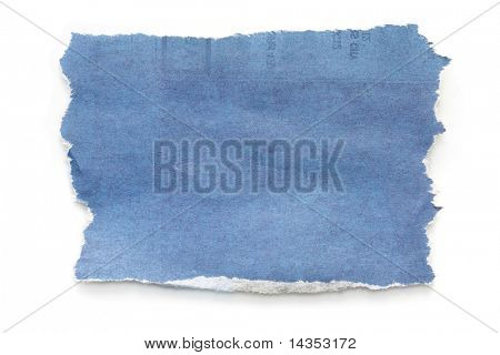 Torn blue-toned newspaper, casting natural shadow on white.