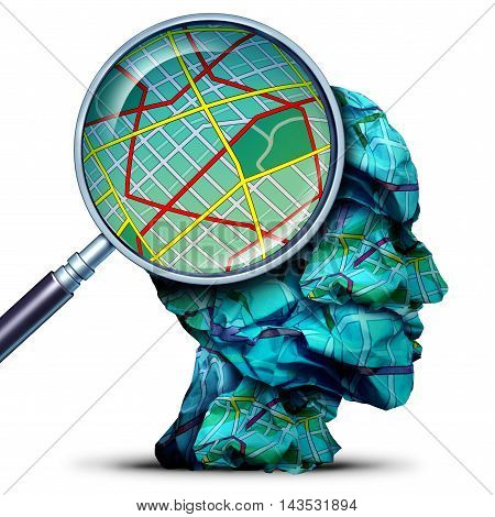 Travel concept as a magnifying lense looking at a map from a group of crumpled papers as a human journey and navigation symbol with 3D illustration elements.