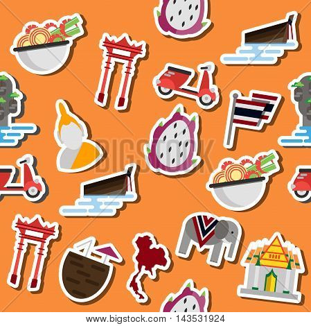 Thailand flat collage. Set Thai color vector icons and symbols, vector illustration