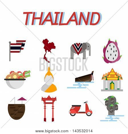 Thailand flat icons set. Trips and Travel