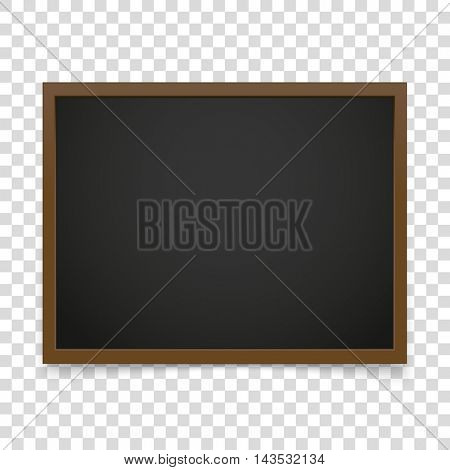 Vector blackboard frame isolated on transparent background. Vector illustration
