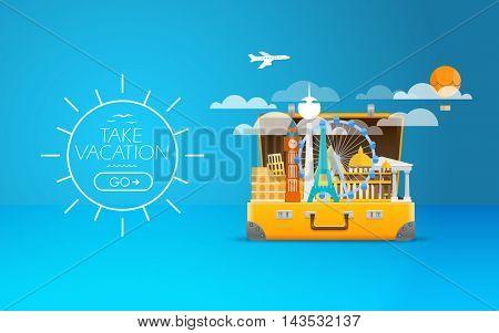 Travel bag vector illustration. Vacation design template. Take vacation
