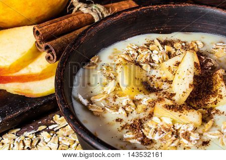 Oatmeal porridge with apple and cinnamon in the bowl on the wooden rustic background with sliced apple. healthy breakfast. close up