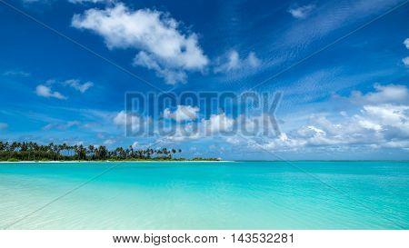 Perfect tropical island paradise beach in  Maldives