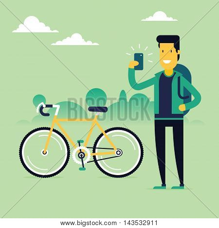 Bikeman character in front of modern bike making selfie and sharing his awesome sport results in social networks. Fully editable vector illustration. Perfect for cards pictures flayers.