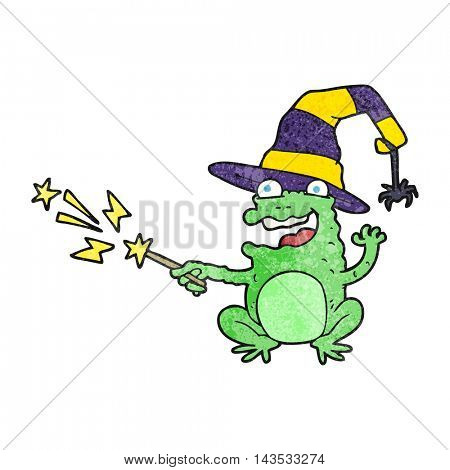 freehand textured cartoon toad casting spell