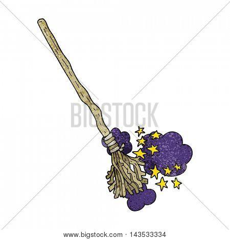 freehand textured cartoon magical broom