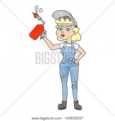 freehand textured cartoon woman welding