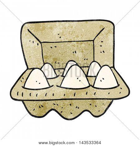 freehand textured cartoon eggs in box