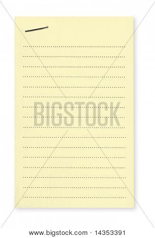 Blank lined yellow notepaper fastened with a staple.  Clipping path included.