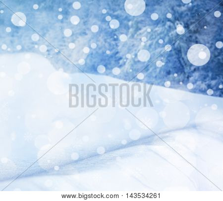 Beautiful natural snowdrift with snowflakes