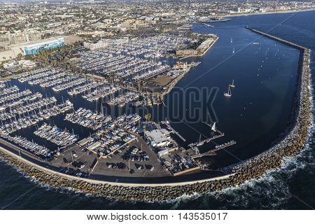 Redondo Beach, California, USA - August 16, 2016:  Afternoon aerial view of Redondo Beach Marina near Los Angeles, California.
