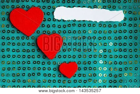 Valentines Day Background. Paper Blank Hearts On Green Fabric Material