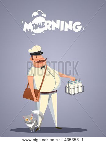 Daily Morning Life. Milkman and cat. Vector illustration