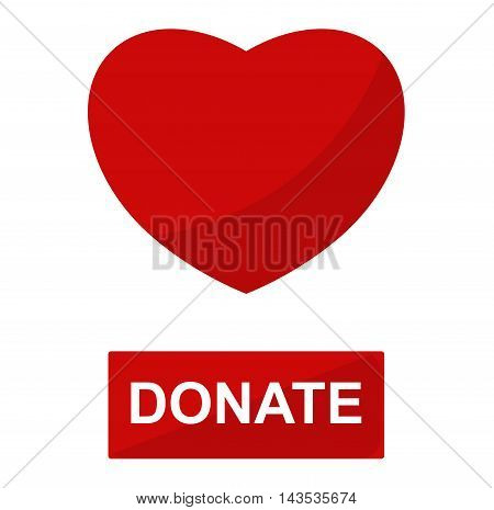 Simple donate red heart button vector icon. Color card beautiful emoticon symbol. Abstract art icon decoration. Help shape design. Donate symbol.