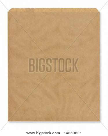 High resolution brown lunch bag, isolated on white.
