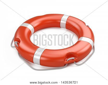 Life buoy isolated on white background. 3d illustration