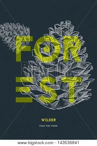 Poster design template. Forest natural objects. Vector illustration